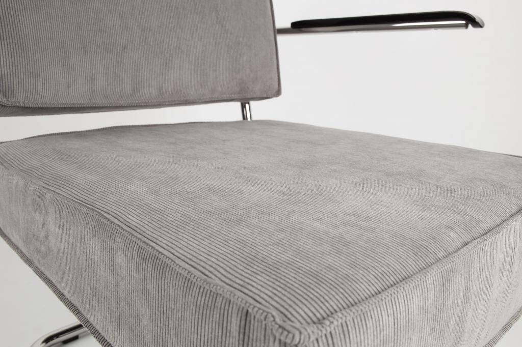 Zuiver Stoel Ridge : Zuiver lounge stoel ridge rib lichtgrijs met arm designwohnen